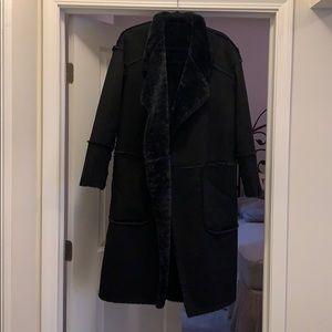 Long suede coat - Zara